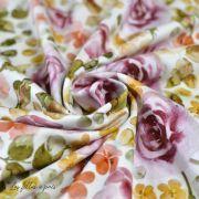 "Tissu jersey coton motif soleil ""English Garden"" - Tons rose - Oeko-Tex ®"