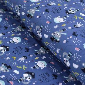 "Tissu jersey coton motif pirate et mer ""Little Pirate"" - Bleu et blanc - Oeko-Tex ®"