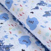 """Tissu jersey coton motif océan """"Little Pirate"""""""" - Blanc et bleu - Oeko-Tex ®"""