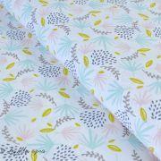 "Tissu coton motif feuille ""Lazou"" - Blanc et vert menthe - Oeko-Tex ®"
