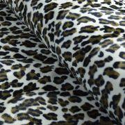 Tissu velboa effet léopard - Marron et beige Autres marques - 1