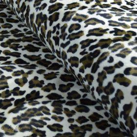 Tissu velboa effet léopard - Marron et beige