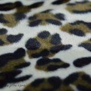 Tissu velboa effet léopard - Marron et beige Autres marques - 2