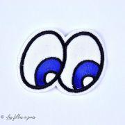 Écusson yeux - Blanc, noir et bleu - Thermocollant