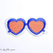 Écusson paire de lunettes coeur - Bleu et orange - Thermocollant