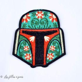 """Écusson Boba-fett """"Star Wars"""" - Vert, rouge et noir - Thermocollant"""