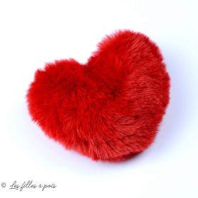 Pompon fourrure synthétique coeur - Rouge - 100x90mm