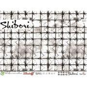 "Tissu jersey coton motif croix ""SHIBORI"" -Blanc et noir - Bio - Lillestoff ®"