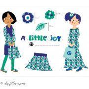 "Tissu jersey coton motif fleurs ""A LITTLE JOY"" - Vert, bleu et blanc - Bio - Lillestoff ®"