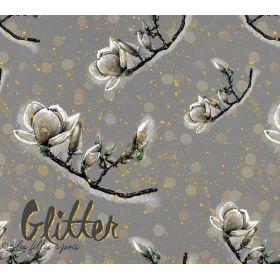 "Tissu jersey viscose motif fleurs ""GLITTER"" - Gris et doré - Lillestoff ®"