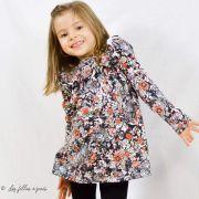 "Tissu jersey motif fleurs ""Fusion Silkroad"" - Noir, blanc et orange - AGF ® Art Gallery Fabrics ® - 2"
