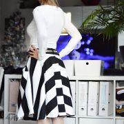 Tissu jersey di milano coton motif rayure - Noir et blanc Autres marques - 2