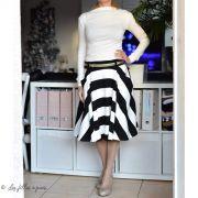 Tissu jersey di milano coton motif rayure - Noir et blanc Autres marques - 3