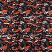 Tissu jersey coton - Noir et Orange - Oeko-Tex ®