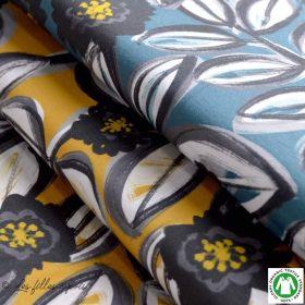 "Tissu jersey viscose motif fleur ""CARA MODAL"" - Bleu pétrole - Lillestoff ® Lillestoff ® - Tissus Bio - 1"