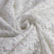Tissu dentelle fleur extensible - 4