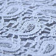 Tissu dentelle fleur extensible  - 2