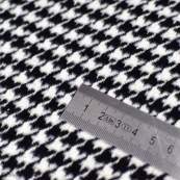 Tissu gabardine motif pied de poule - Blanc et noir