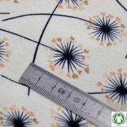 Tissu french terry coton motif pissenlit - Ecru, noir et doré - Bio