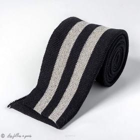 Bord côtes double à rayure - Noir et argenté Autres marques - Tissus et mercerie - 1