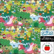 """Tissu jersey coton schroumpfette """"Smurfette's Garden"""" - Vintage In My Heart - Oeko-Tex ®"""