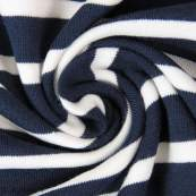 Tissu jersey coton motif rayure - Bleu marine et blanc