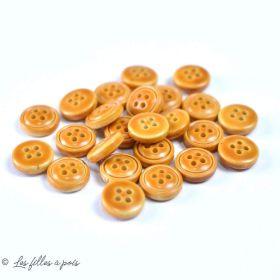 Boutons résine imitation cuir - 11.5mm - Lot de 10