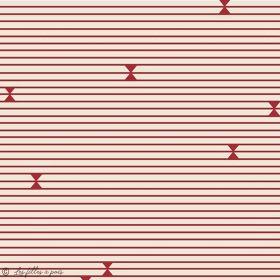 "Tissu jersey motif rayures ""Trinkets Fusion"" - Ecru et Rouge - AGF ®"