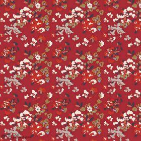 "Tissu jersey motif fleurs ""Trinkets Fusion"" - Rouge et blanc - AGF ®"