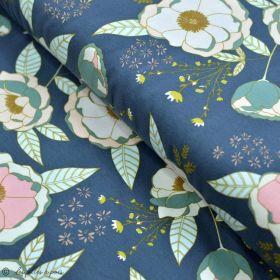 """Tissu jersey motif fleurs """"Fusion Sparkler"""" - Bleu gris, rose et ocre - Oekotex - AGF ®"""