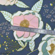 """Tissu jersey motif fleurs """"Fusion Sparkler""""  - Bleu gris, rose et ocre - Oekotex - AGF ® Art Gallery Fabrics ® - Tissus - 7"""
