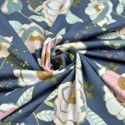 """Tissu jersey motif fleurs """"Fusion Sparkler""""  - Bleu gris, rose et ocre - Oekotex - AGF ® Art Gallery Fabrics ® - Tissus - 3"""