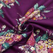 "Tissu coton motif fleurs ""Fusion Foresta"" - Pourpre - Oekotex ® - AGF ® Art Gallery Fabrics ® - 3"
