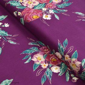 "Tissu coton motif fleurs ""Fusion Foresta"" - Pourpre - Oekotex ® - AGF ® Art Gallery Fabrics ® - 1"