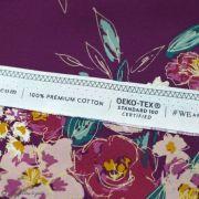 "Tissu coton motif fleurs ""Fusion Foresta"" - Pourpre - Oekotex ® - AGF ® Art Gallery Fabrics ® - 6"