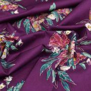 "Tissu coton motif fleurs ""Fusion Foresta"" - Pourpre - AGF ®"