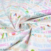 "Tissu coton motif fleurs ""Angles Playroom"" - Ecru et multicolore - Oekotex ® - AGF ® Art Gallery Fabrics ® - Tissus - 4"