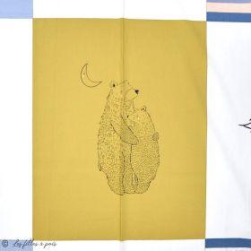 "Panneau de tissu coton motif loutres ""Capsules Pines Lullaby"" - Blanc, ocre, rose et bleu - Oekotex ® - AGF ® Art Gallery Fabric"