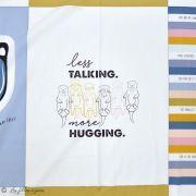 """Panneau de tissu coton motif loutres """"Capsules Pines Lullaby"""" - Blanc, ocre, rose et bleu - AGF ®"""