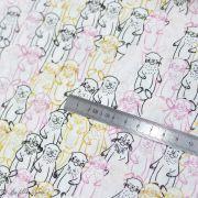 "Tissu coton motif loutres ""Capsules Pines Lullaby"" - Blanc, ocre, rose et bleu - AGF ®"