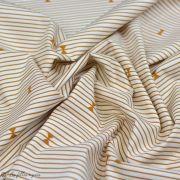 "Tissu coton motif rayures ""Trinkets Fusion"" - Ecru et Ocre - AGF ® Art Gallery Fabrics ® - Tissus - 4"