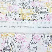"Tissu coton motif loutres ""Capsules Pines Lullaby"" - Blanc, ocre, rose et bleu - Oekotex ® - AGF ® Art Gallery Fabrics ® - Tissu"