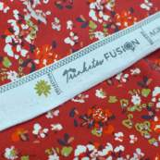 "Tissu jersey motif fleurs ""Trinkets Fusion"" - Rouge et blanc - Oekotex ® - AGF ® Art Gallery Fabrics ® - 5"