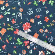 "Tissu jersey motif rayures ""Fusion Woodlands"" - Bleu marine et Rouge - AGF ®"