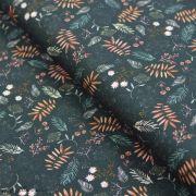 "Tissu jersey coton motif fleur ""Green Floral"" - Vert - Oeko-Tex ®"