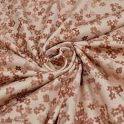 "Tissu jersey coton motif fleurs ""Mini Flowers Peach"" - Marron - Oeko-Tex ®"