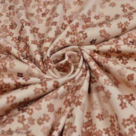 "Tissu jersey coton motif fleurs ""Mini Flowers Peach"" - Marron - Oeko-Tex ® Family Fabrics ® - 4"