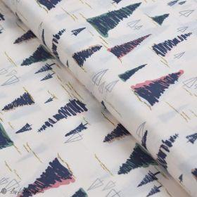 "Tissu coton motif arbre ""Fusion Sparkler"" - Rose, gris et vert - Oekotex ® - AGF ® Art Gallery Fabrics ® - 1"