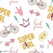 "Tissu coton motif ""Power Girl"" - Blanc, corail et ocre - Oeko-Tex ® et GOTS ®"