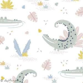 Tissu lycra maillot de bain motif crocodile - Blanc, vert et ocre - 1